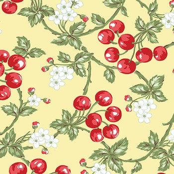 Cherries butter, geel, print rood, groen en wit