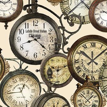 Clocks, crême, print bruin