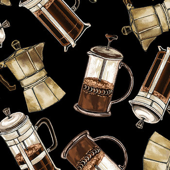 Coffee Carafes Black, zwart, print bruin crême