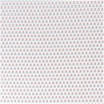 Quiltstof wit, print blauw/rode boompjes