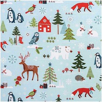 Quiltstof, blauw, kerstprint