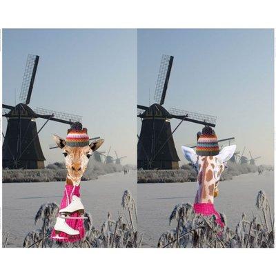 Stenzo digitaal paneel giraffe met sjaal