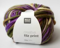 Creative Filz print paars/olijf