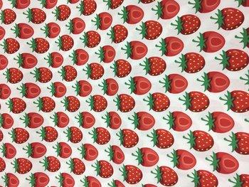 Print aardbei, wit, print rood