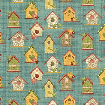 Bird Houses teal, blauw-groen, vogelhuisjes print