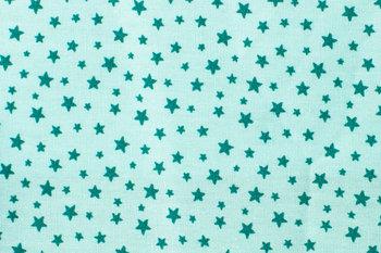 Katoen poplin, turquoise, sterretjes groen