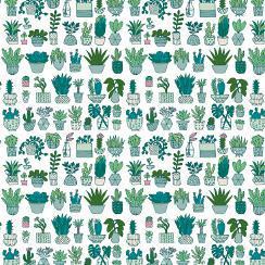 Quiltstof wit, print cactus motief groen