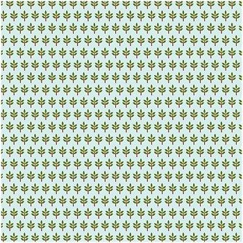 Quiltstof, lichtblauw, print groen/rode boompjes