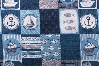 Katoen, blauw, zeemotief