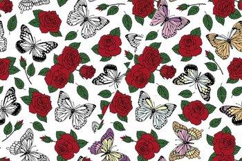 color change stof vlinders en rozen