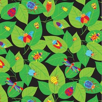Bugs at Work, zwart, print groen-multicolor