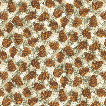 Pine cones natural, crême met dennenappeltjes