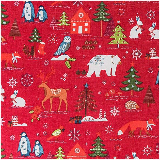 Quiltstof, rood, kerstprint
